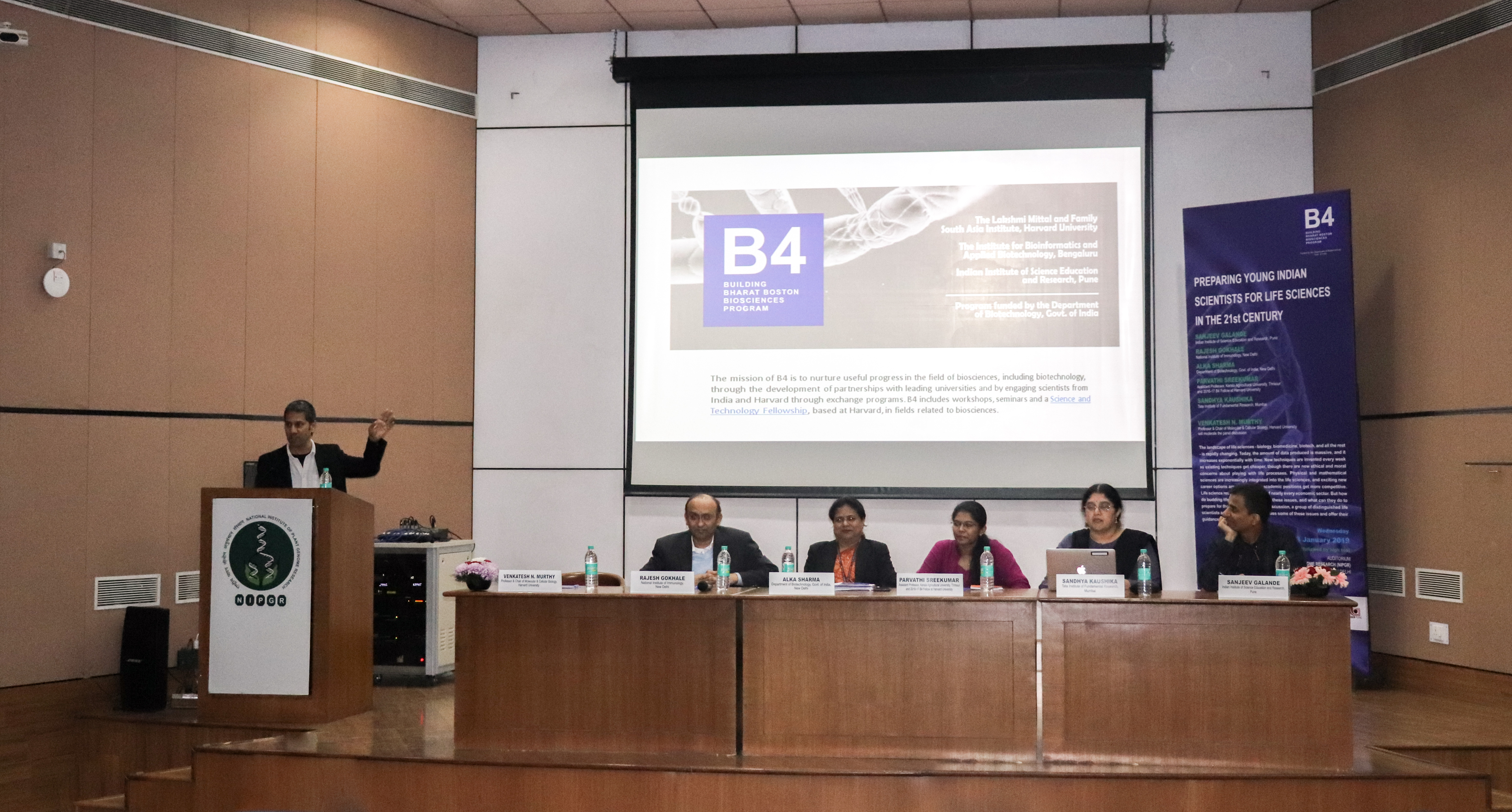 Panelists at the B4 Young Scientists seminar discussing the future of life sciences.